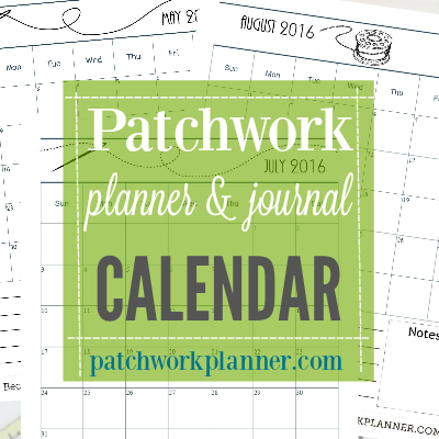 patchwork planner and journal calendar green