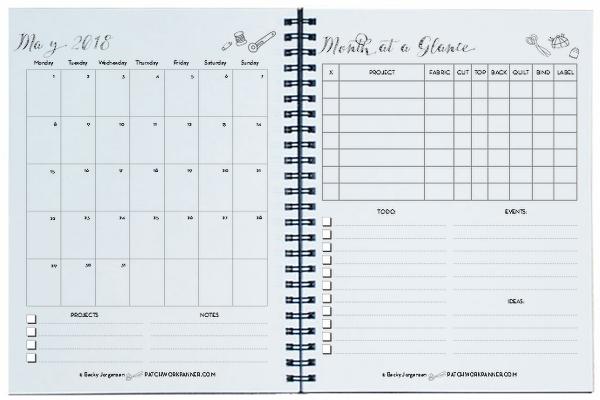 2018 Spiral Bound Patchwork Planner Calendar Patchwork Planner